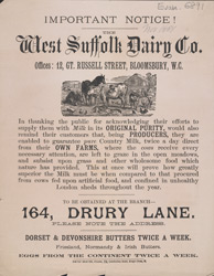 Advert for the West Suffolk Dairy Company